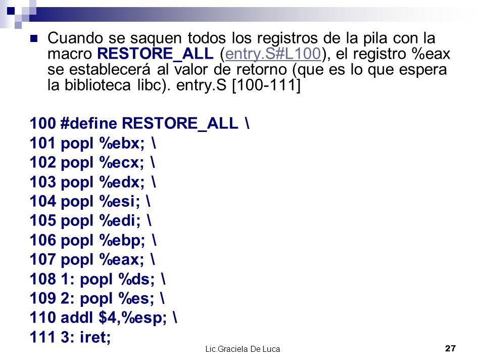 Cuando se saquen todos los registros de la pila con la macro RESTORE_ALL (entry.S#L100), el registro %eax se establecerá al valor de retorno (que es lo que espera la biblioteca libc). entry.S [100-111]